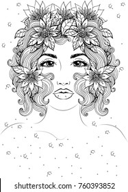 Vector beautiful girl with short hair and flowers in hair, fashionable sketch. Ideal for coloring