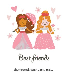 Vector beautiful girls princesses in dresses holding umbrella and flower with best friends lettering. Vector cute little girls. Princess vector illustration - Vector