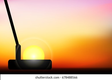 vector beautiful golf illustration, twilight silhouette putter putting stroke with the sun, concept is challenge for progress.