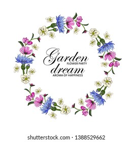 Vector beautiful greeting card with flowers. Hand drawn illustration of wreath of cornflowers with the inscription. Garden dream. Text. Flower party. Aroma of happiness.