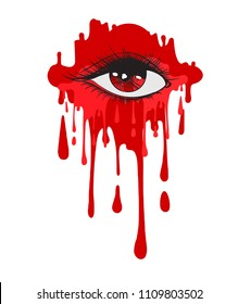 Vector beautiful illustration with a blood crying eye. Women's watery eyes. Eyes with blood flowing on isolated background.