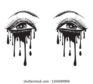 Vector beautiful illustration with crying eyes. Women's watery eyes. Eyes with flowing mascara on isolated background.