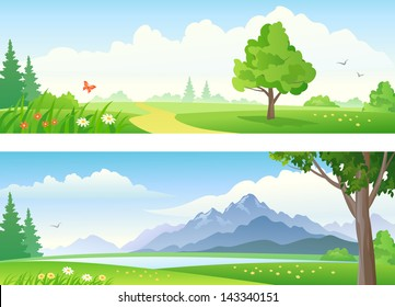 Vector beautiful landscape banners