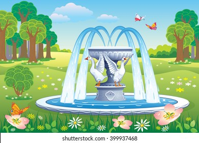 Vector beautiful landscape with a fountain with geese in the Park