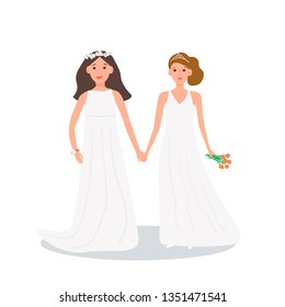 Vector beautiful lesbian couple in white wedding dresses white and orange bouquet of flowers. Same-sex family. Gay marriage. Two brides on isolated white background.