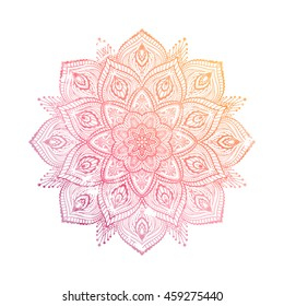 Vector Beautiful Mandala. Vintage decorative element. Ethnic round ornament. abstract watercolor hand drawn vector.