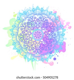 Vector Beautiful Mandala. Vintage decorative element. Ethnic round ornament. Colorful watercolor blobs
