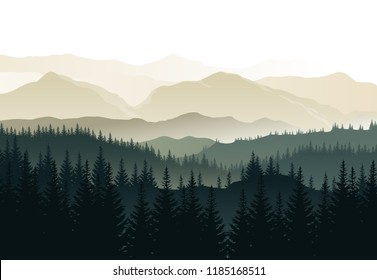 Vector beautiful morning landscape with misty green forests and mountains