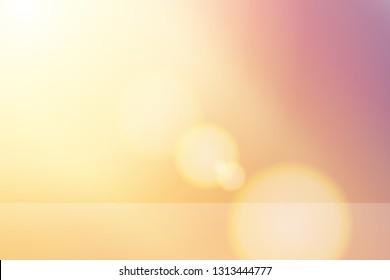 Vektorschöner natürlicher Lebensstil. Sonnenaufgang glänzende Linse-Flare, weicher Bokeh-Naturhintergrund reflektieren Regal, Illustration natürliche Farbfilter abstrakte Einfachheit für Werbeprodukte Hintergrund