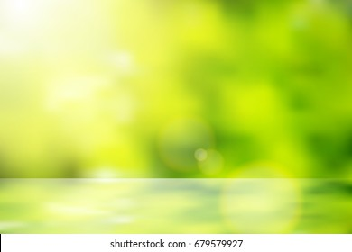 vector beautiful natural style of life. sunrise glitter lens flare, soft bokeh nature background reflect shelf,illustration natural color filter abstract simplicity for advertising products background