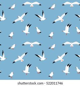 Vector beautiful pattern with seagulls. Sea Gull, a beautiful bird. Cute bird in cartoon style. Sea seamless pattern.