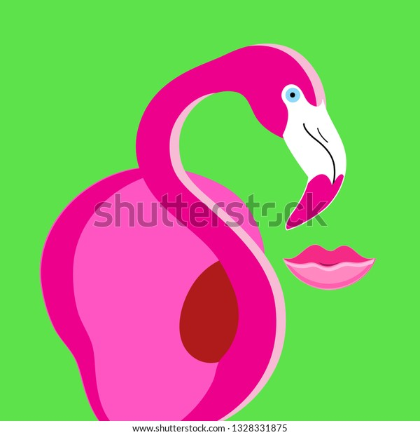 Vector beautiful poster pink flamingo silhouette on green background