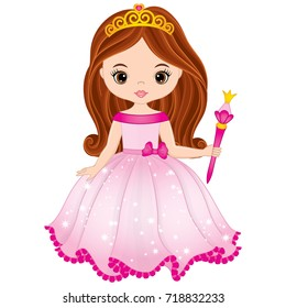 Vector beautiful princess in pink dress holding magic wand. Vector cute little girl. Princess vector illustration