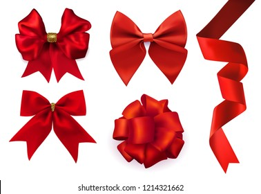 Vector beautiful realistic red ribbon and set of different shape silk red bows gift decorative element