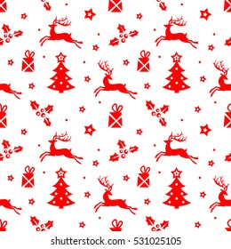 Vector beautiful red Christmas pattern with Christmas trees and reindeer.