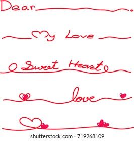 Vector - Beautiful red line lettering with hand writing . Calligraphy red line with concept lover. Simple design. Easy to use. Dear, My love, Sweet heart, love.