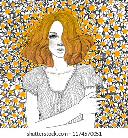 vector beautiful red-haired young girl lies on a meadow of sunny and the same red orange carroty  dandelions