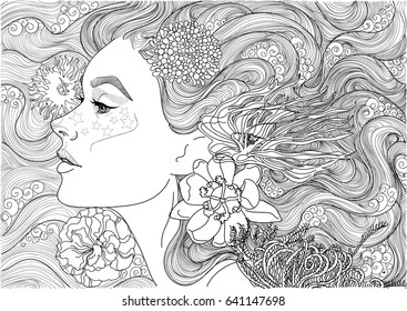 Vector beautiful sea goddess, mermaid, girl among flowering algae, coloring