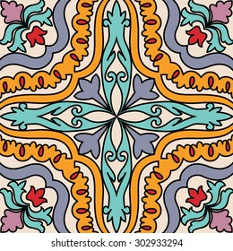 Vector beautiful seamless ornamental tile background. Italian style