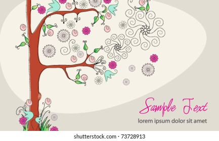 Vector beautiful spring floral tree