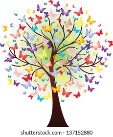 Vector beautiful spring tree, consisting of butterflies of different size and color
