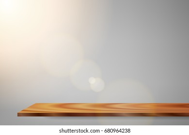 vector beautiful sunlight shadow gray background. sunrise glitter lens flare wood shelf  white interior, illustration light studio color filter abstract simplicity for advertising products background.