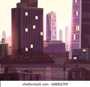 Vector beautiful sunset over cartoon city with highway. Cityscape with warm sun light.  Cute modern architecture.
