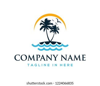 Vector Beautiful Sunset and Sunrise on the Waves of the Beach with palm trees and Flying Birds Sign Symbol Icon Traveling or Holiday Company Logo Template Design Inspiration