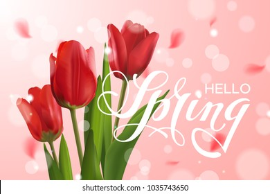 """Vector beautiful template with realistic red tulips and text """"Hello Spring"""". Pink blur background with lettering, flower's petals and effect bokeh. File contains clipping mask."""