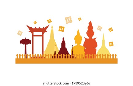 Vector of beautiful Thai Royal Barge Suphannahong on the River of Thailand,Traditional Thai style Vector concept.