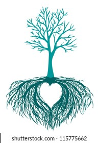 vector beautiful tree with the heart shaped root isolated white background