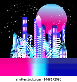 Vector beautiful trendy illuminated city with skyscrapers at night with the moon. Template for design poster, greeting card or banner.