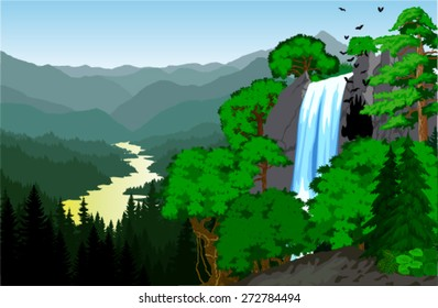 vector beautiful waterfall in mountains with cave