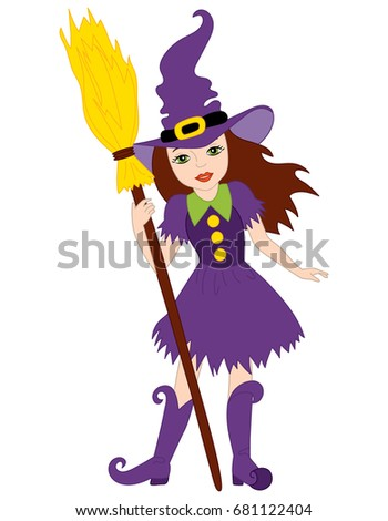 vector beautiful witch with broomstick vector halloween witch halloween vector illustration