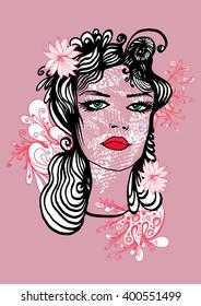 Vector beautiful woman