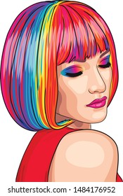 vector beautiful woman wearing colorful wig. EPS