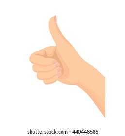 """Vector of beautiful Woman's hand gesturing """"thumbs up"""" isolated on white background"""