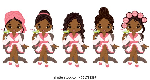 Vector beautiful young African American girls doing hair styles in spa salon. Vector African American girls with various hair styles. African American spa girls vector illustration