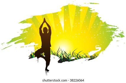 vector beautiful young boy doing yoga exercise outdoors
