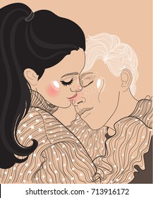 vector beautiful young couple guy and girl, girl in sweater hugs guy and gently kisses him in the nose, lovers romantic