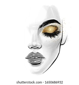 Vector beautiful young woman face. Girl portrait with black lashes, brows, Closed eyes with glitter eyeshadow. Fashion Sketch illustration for beauty salon, posters and social media.