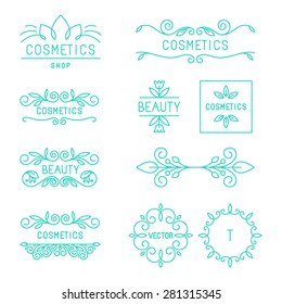 Vector beauty and cosmetics logos and labels in trendy linear style - organic and natural badges and icons