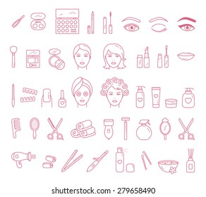 Vector Beauty, Face and Hair Care outlined icon set