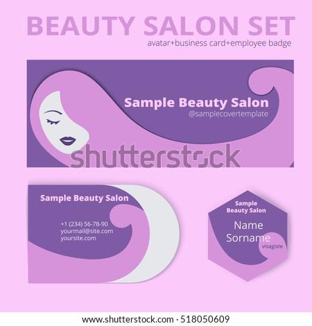 Vector Beauty Salon Set Avatar Cover Stock Vector (Royalty Free