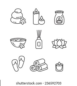 Vector Beauty and Spa line icon set
