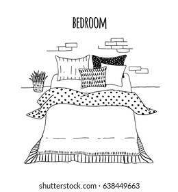Vector bedroom interior. Hand-drawn style