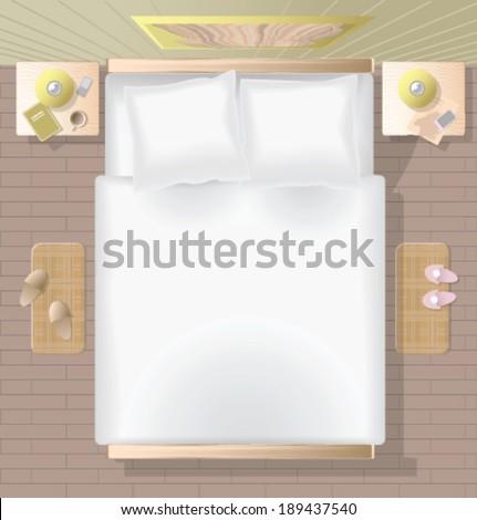 Vector Bedroom Top View Stock Vector Royalty Free 189437540