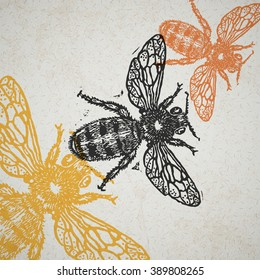Vector bee in abstract composition. Linocut honeybee in flight in different colors on old paper