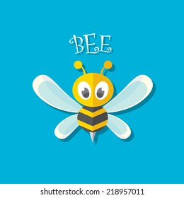 vector bee flat icon. cartoon cute bright baby bee on stylish blue background. vector illustration. cut paper bee