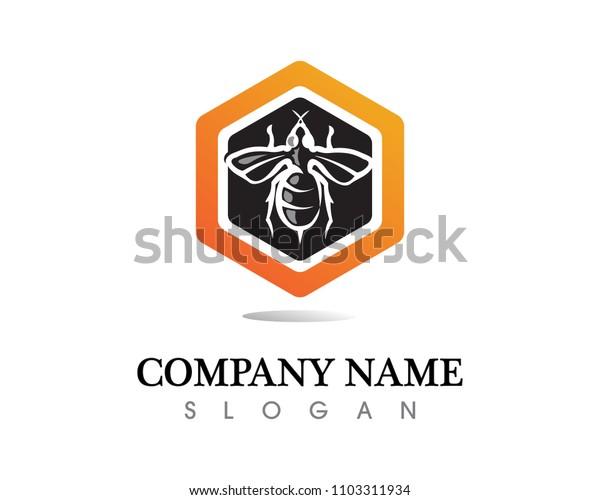vector bee honey honey bee logo nice orange sweet unique warm design
